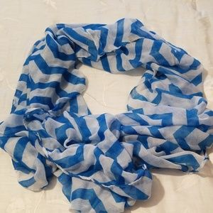 Blue and white Chevron infinity scarf